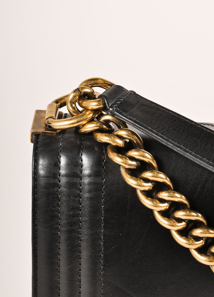 "Chanel Black and Brass Toned Smooth Leather Chain Strap ""Le Boy"" Flap Bag Detail 3"