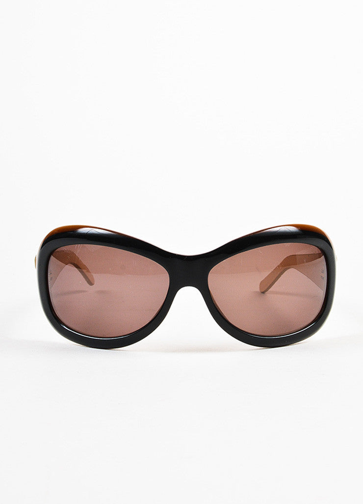 Chanel Black, Brown, and Beige Lambskin Leather Quilted Arm Sunglasses Frontview