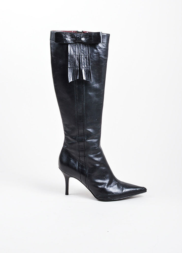 Black Chanel Leather Pointed Toe Knee High Fringe Bow Stiletto Boots Sideview