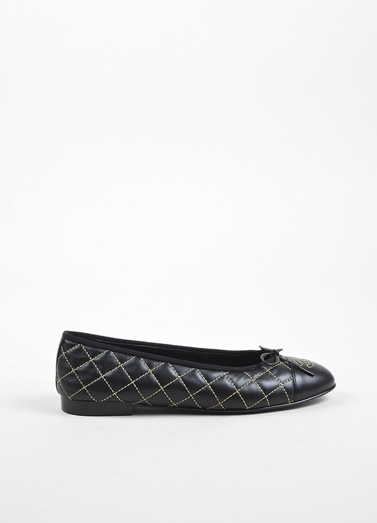 Chanel Black Leather Quilted Gold Tone Stitched 'CC' Cap Toe Ballet Flats Sideview