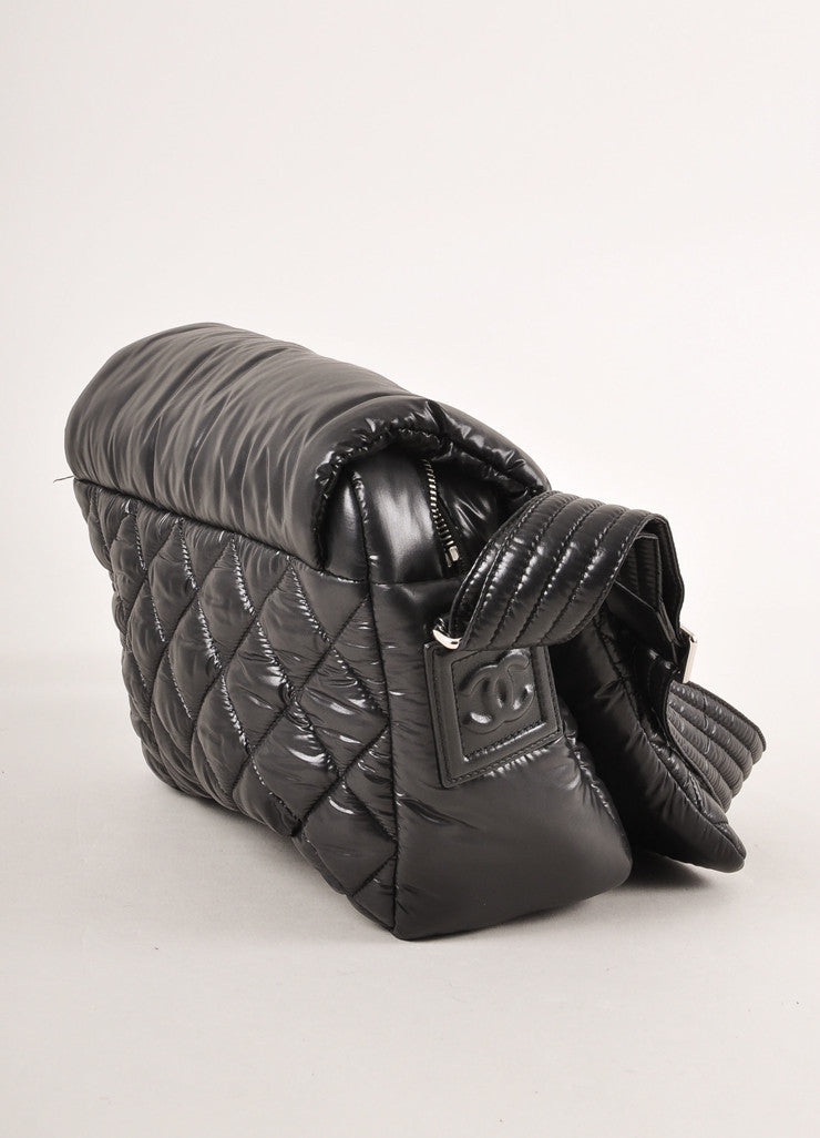 Chanel Black Nylon Coco Cocoon Puffer Messenger Crossbody Bag Sideview