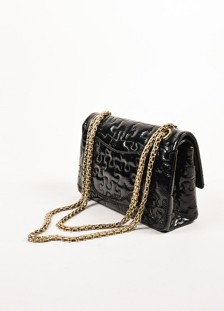 "Chanel Black Patent Leather ""Reissue Puzzle"" Shoulder Flap Bag Sideview"
