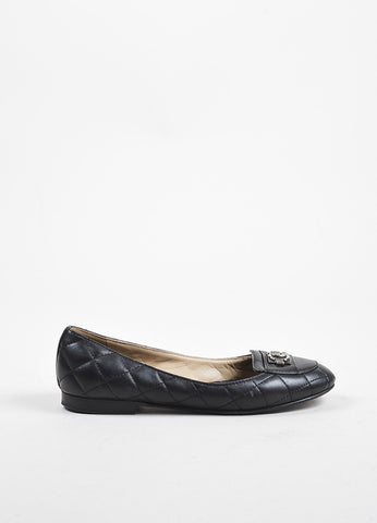 "Chanel Black Quilted Leather ""Boy"" Gunmetal Buckle Ballerina Flat Side"