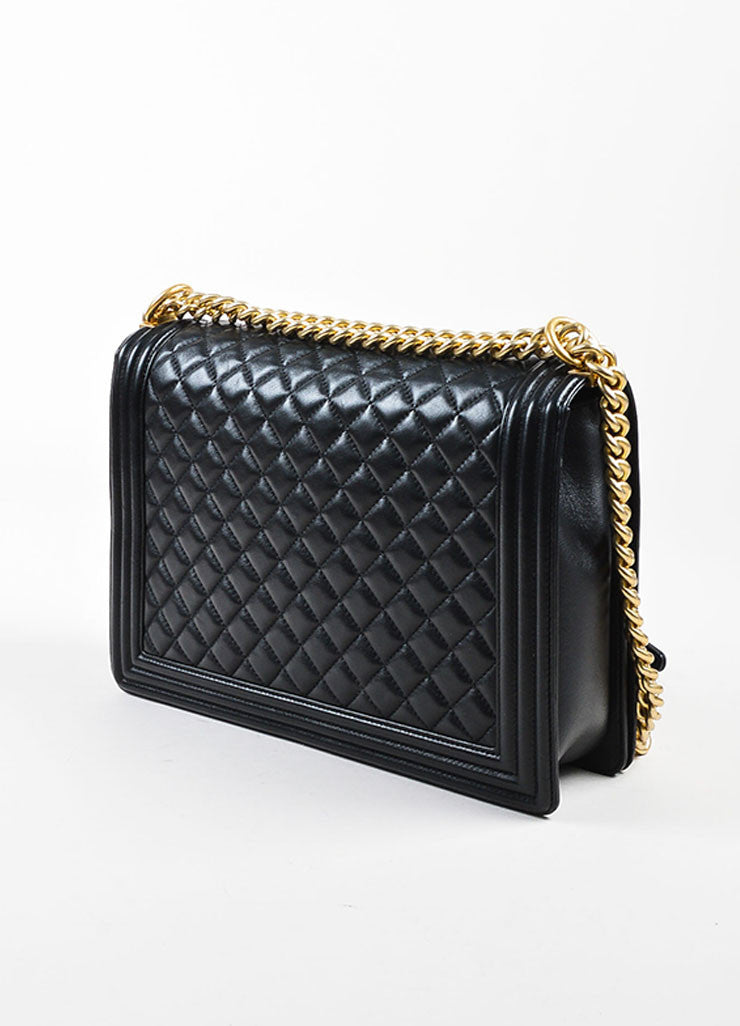 "Chanel Black Quilted Leather Gold Hardware Large ""Boy"" Shoulder Bag Sideview"