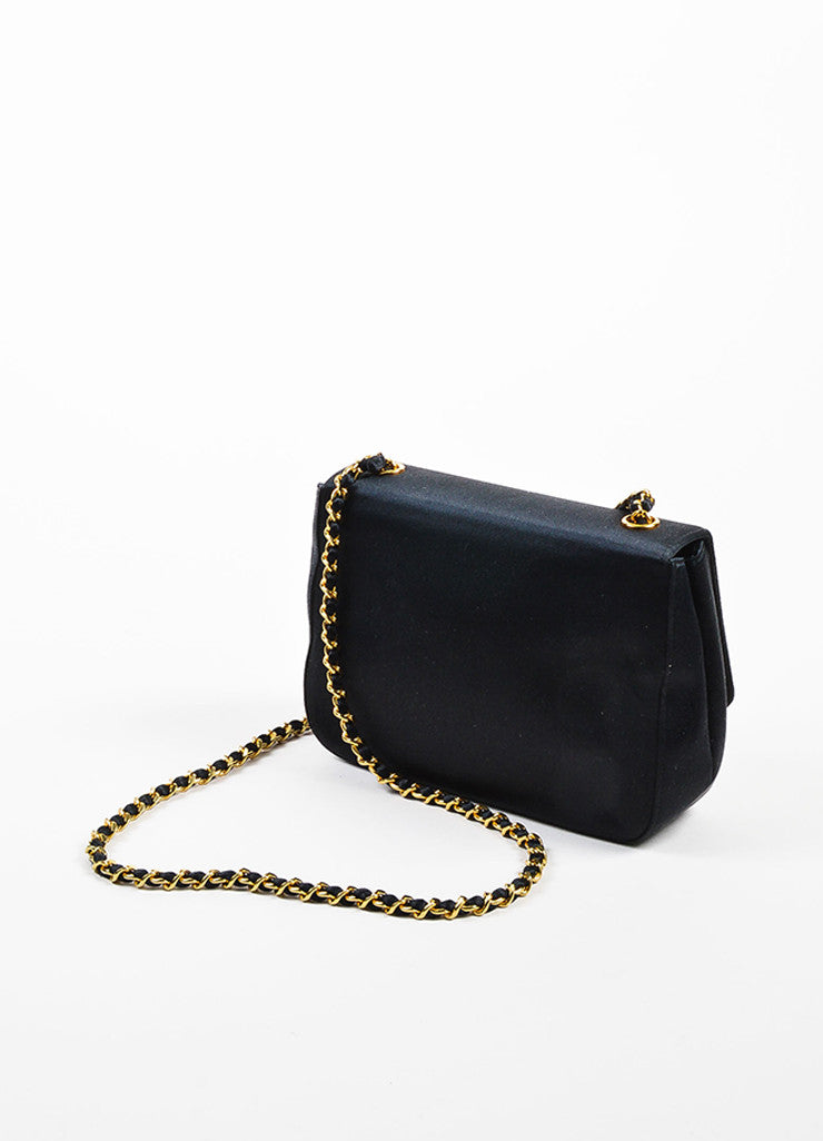 Black Chanel Satin Gold Toned Flower Chain Strap Shoulder Bag Sideview