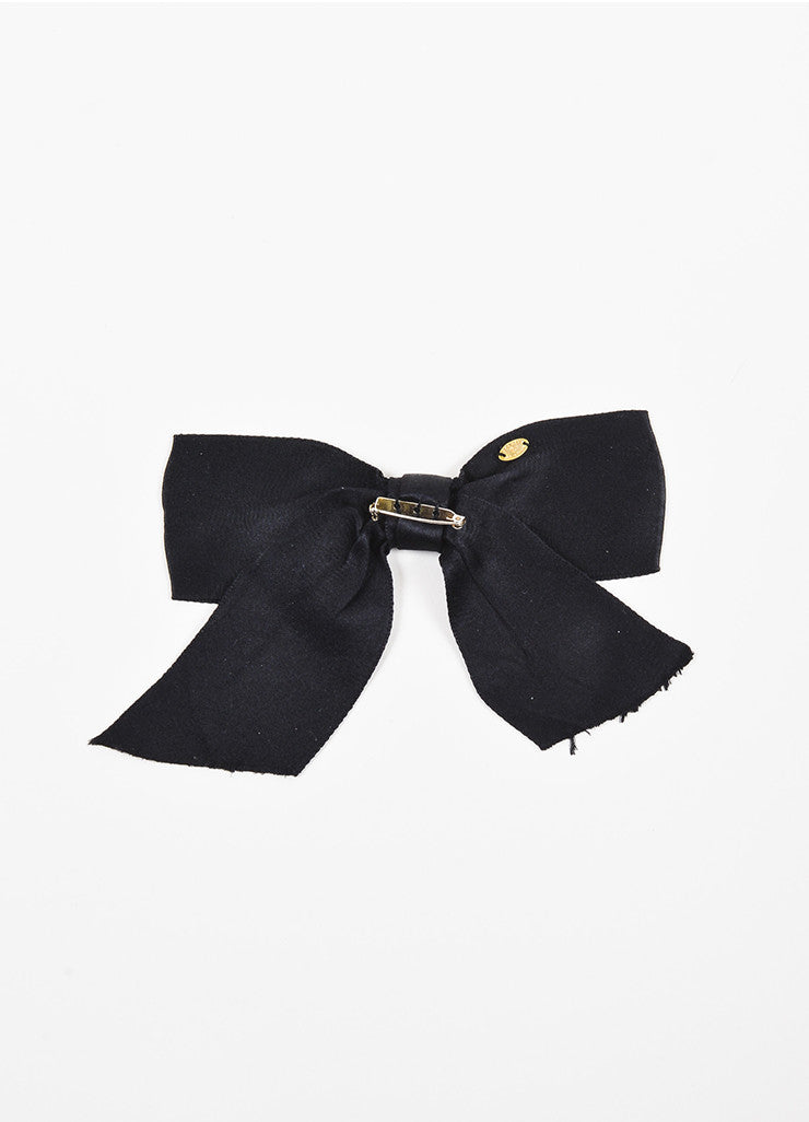 Chanel Black Satin Oversized Bow Tie Brooch Pin Backview