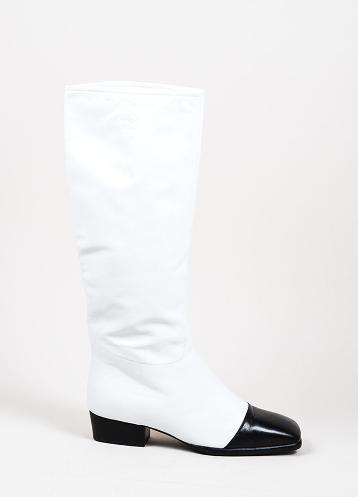 Black and White Chanel Leather Square Toe Stitched 'CC' Mid Calf Boots Sideview
