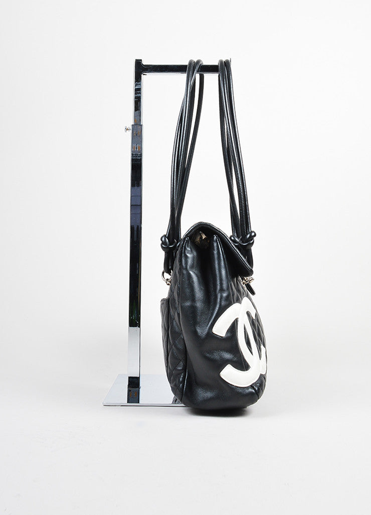 "Black and White Chanel Quilted Leather 'CC' ""Ligne Cambon"" Flap Bag Sideview"