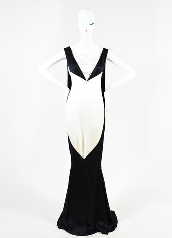 Chanel Black and White Silk Color Block Layered and Triple Split Gown Frontview