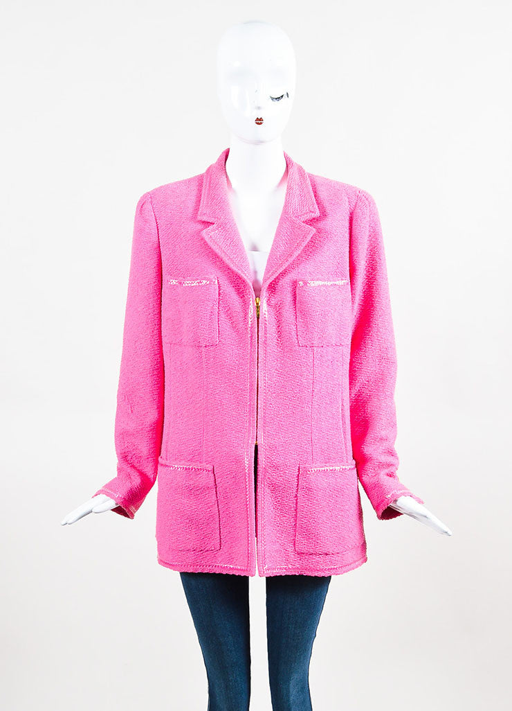 Chanel Bubblegum Pink Pulled Tweed Woven Trim Notch Lapel Jacket Frontview 2