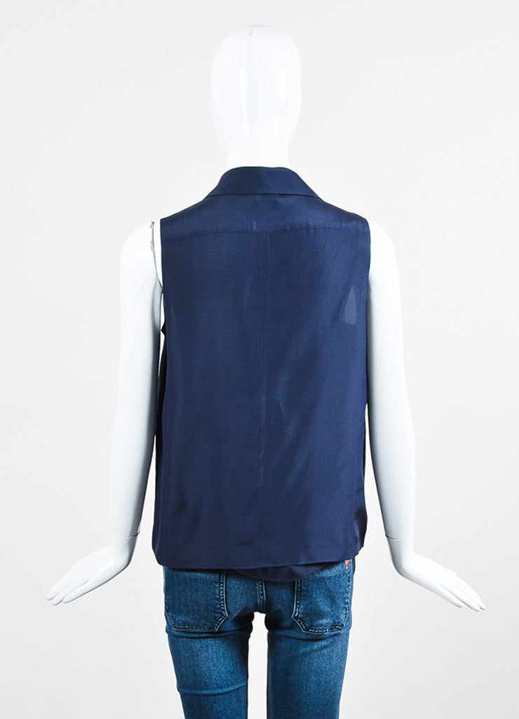 Chaenl Navy Blue Silky Gold Toned 'CC' Button Sleeveless Blouse Top Backview