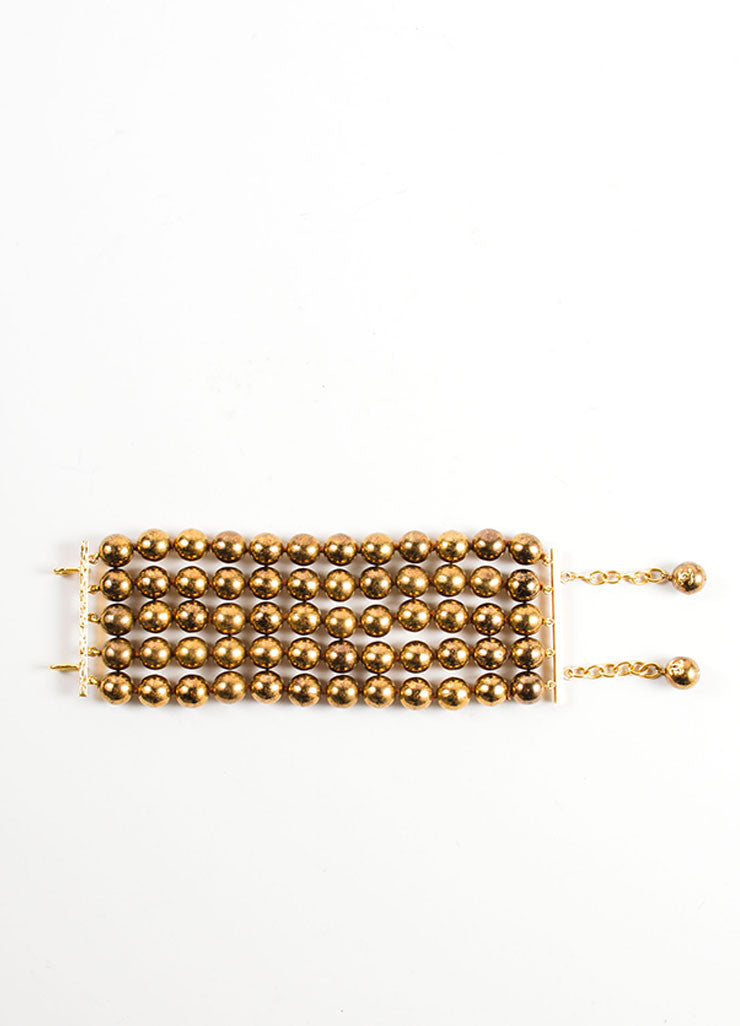 Chanel Bronze Metallic Distressed Faux Pearl 5 Strand Chunky Statement Bracelet Frontview 2
