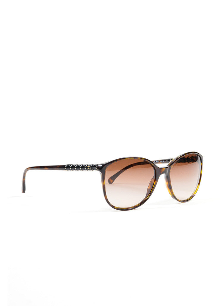 "Brown Tortoise and Gold Toned Chanel Embellished Arms Rounded ""5207"" Sunglasses Sideview"