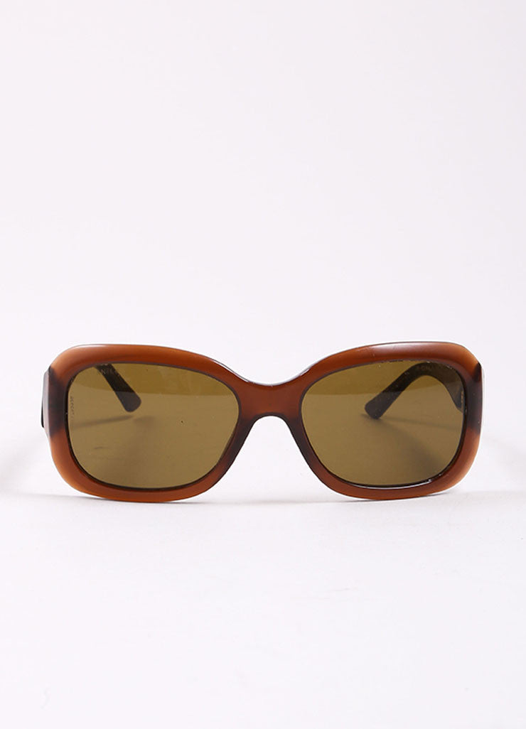 "Chanel Brown Translucent Oval ""CC"" Logo ""5102"" Sunglasses Frontview"