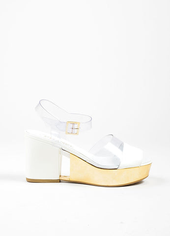 Cream, Clear, and Gold Toned Chanel Patent Leather Cut Out Platform Sandals Sideview