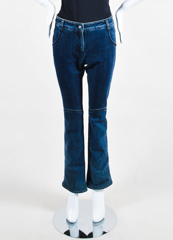 Chanel Denim Blue Top Stitched Knee Four Pocket Straight Leg Jeans Frontview
