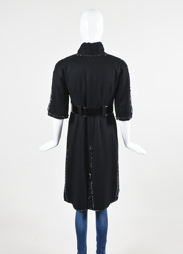 Chanel Black Wool Bead Embellished Belted Short Sleeve Coat Backview