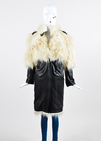 Black and Cream Chanel Quilted Leather Fantasy Fur Coat Frontview 2