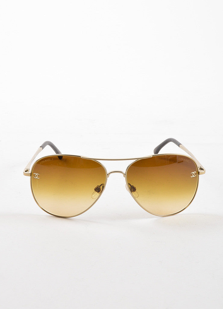 "Chanel Gold Toned Metal Brown Gradient Lens ""CC"" Aviator ""4189"" Sunglasses Frontview"