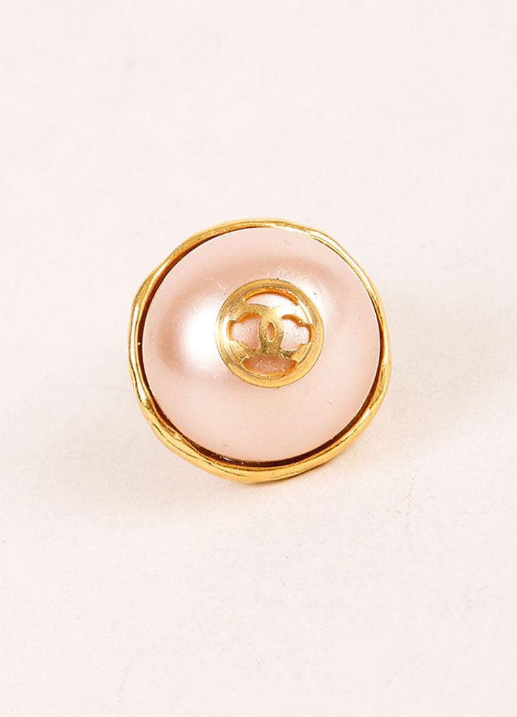"Chanel Gold Toned and Faux Pearl ""CC"" Logo Stud Earrings Detail"
