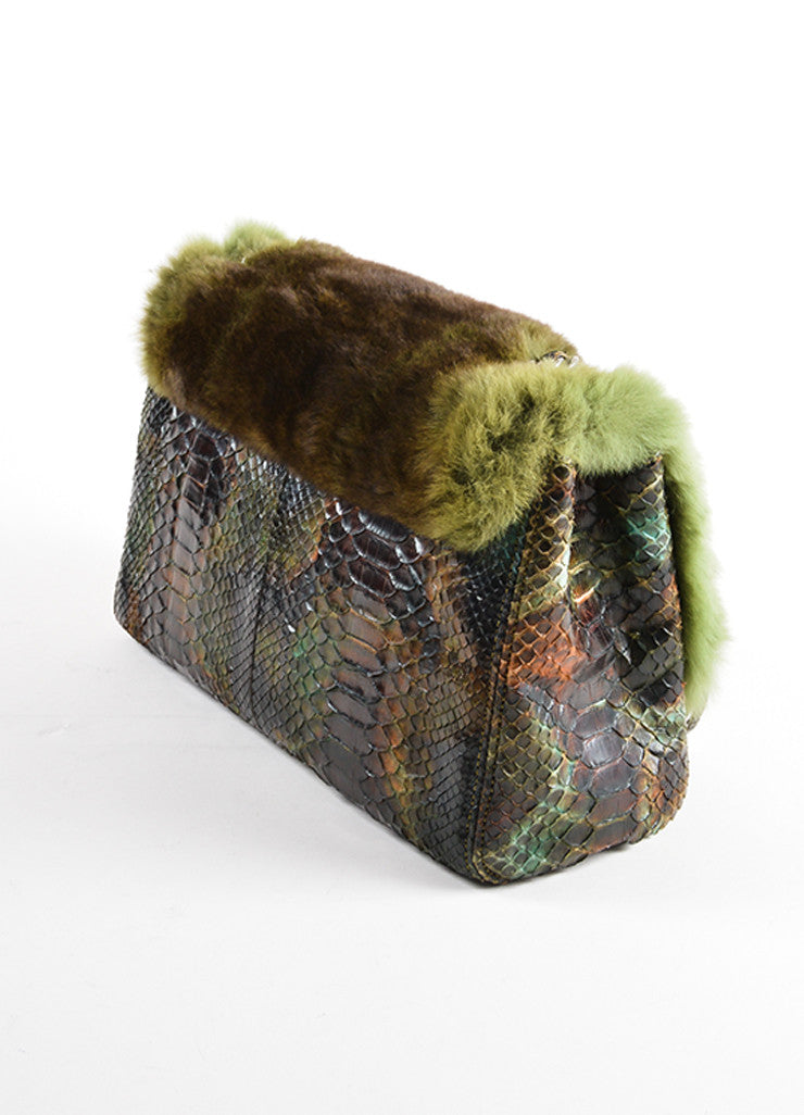Chanel Green and Brown Chinchilla Fur and Python Leather Jumbo Classic Flap Bag Sideview