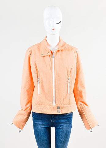 "Chanel ""Apricot"" Orange and White Seersucker Jacket Frontview 2"