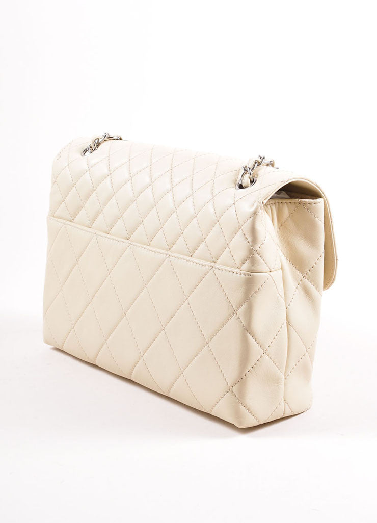 "Chanel Light Beige Calfskin Leather ""Quilted in the Business"" Flap Bag Sideview"