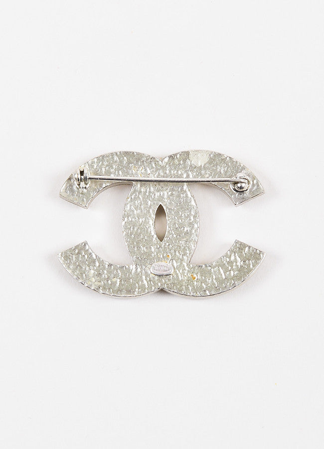 Chanel Matte Silver Toned Heart Crystal Embellished 'CC' Brooch Pin Backview