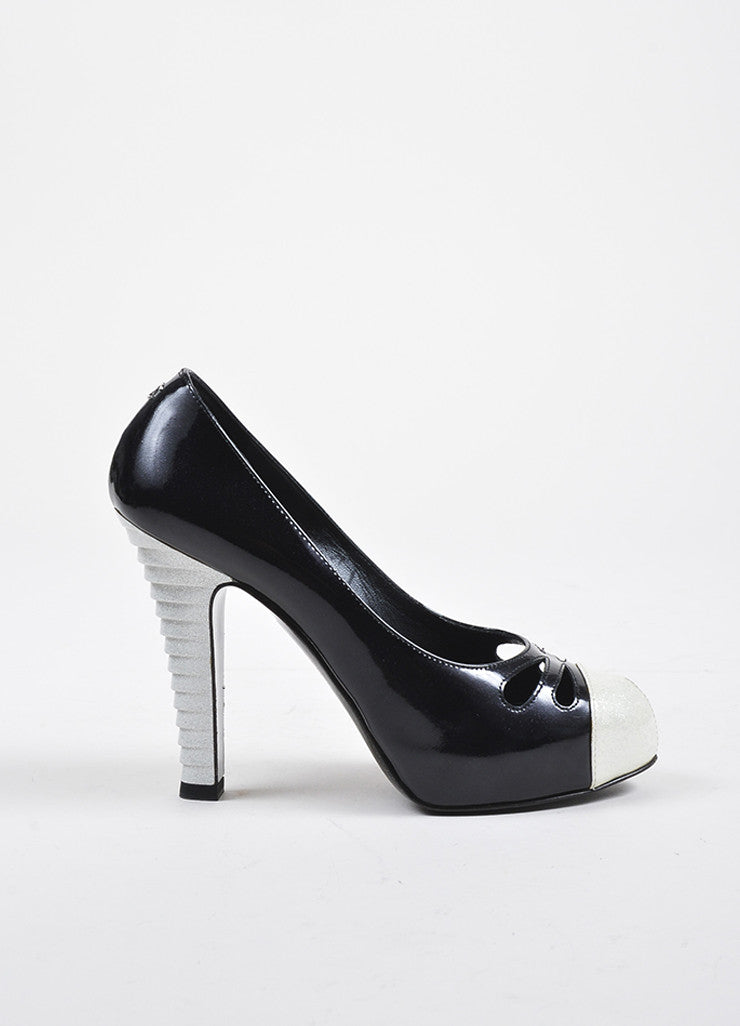 Black and White Chanel Patent Leather Glitter Cap Toe Cutout Pumps Sideview