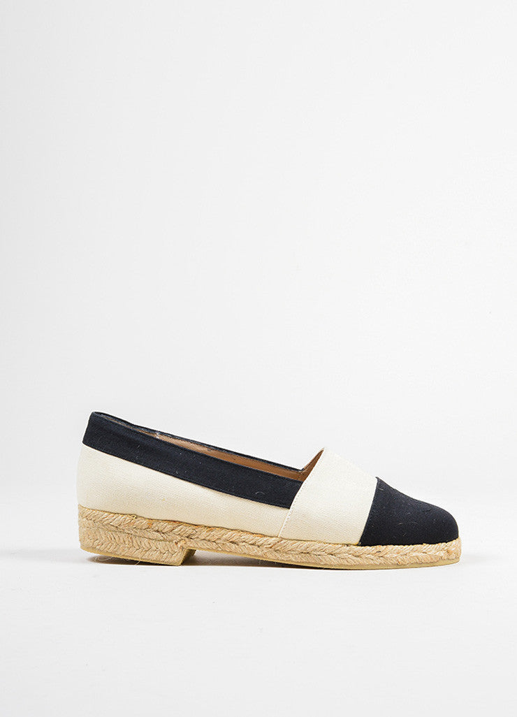 Cream and Black Chanel Canvas Cap Toe 'CC' Logo Espadrille Flats Sideview