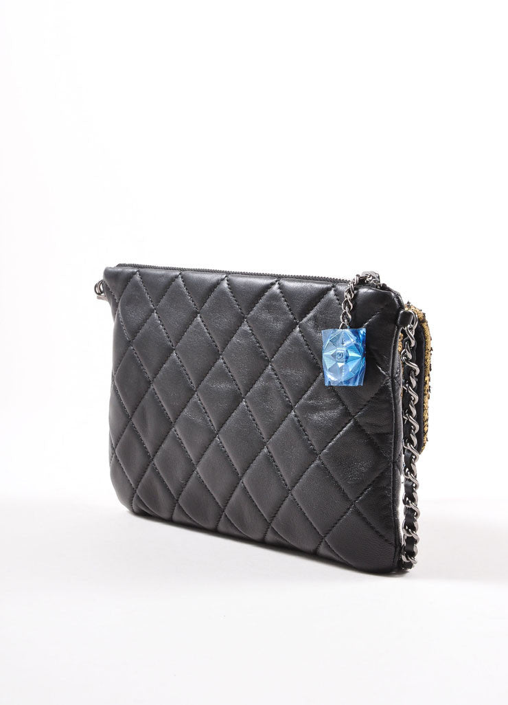 Chanel New Without Tags Black Gold Tone Metallic Flaked Leather Quilted Flap Pocket Bag Backview