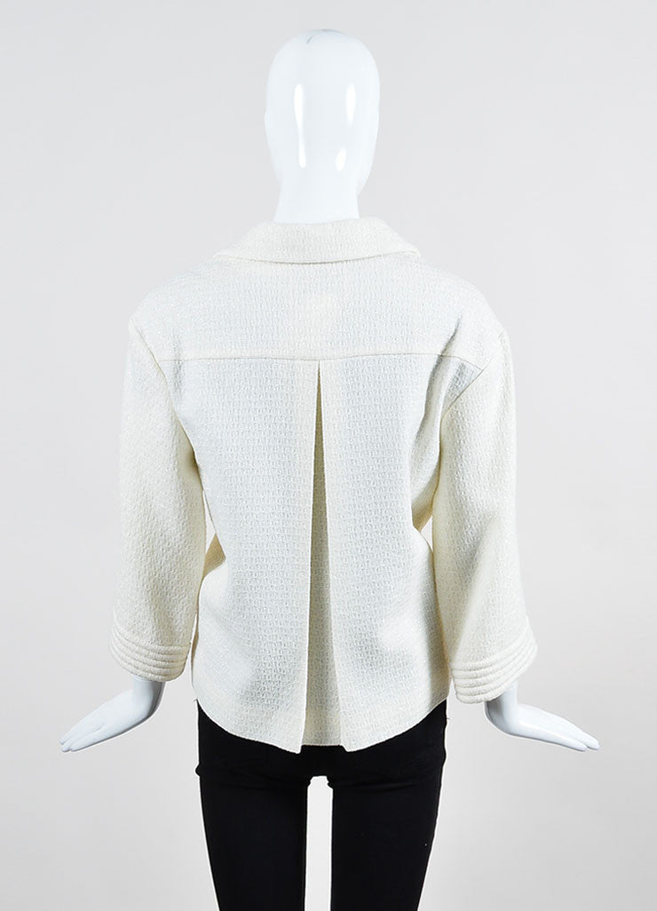 Cream Chanel Wool Woven Knit Sparkle Crop Sleeve Jacket Backview