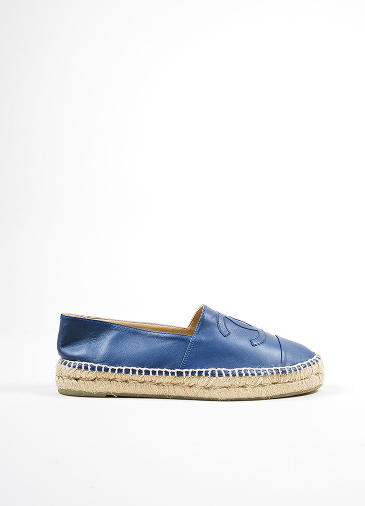 Blue Leather Chanel 'CC' Slip On Espadrilles Sideview