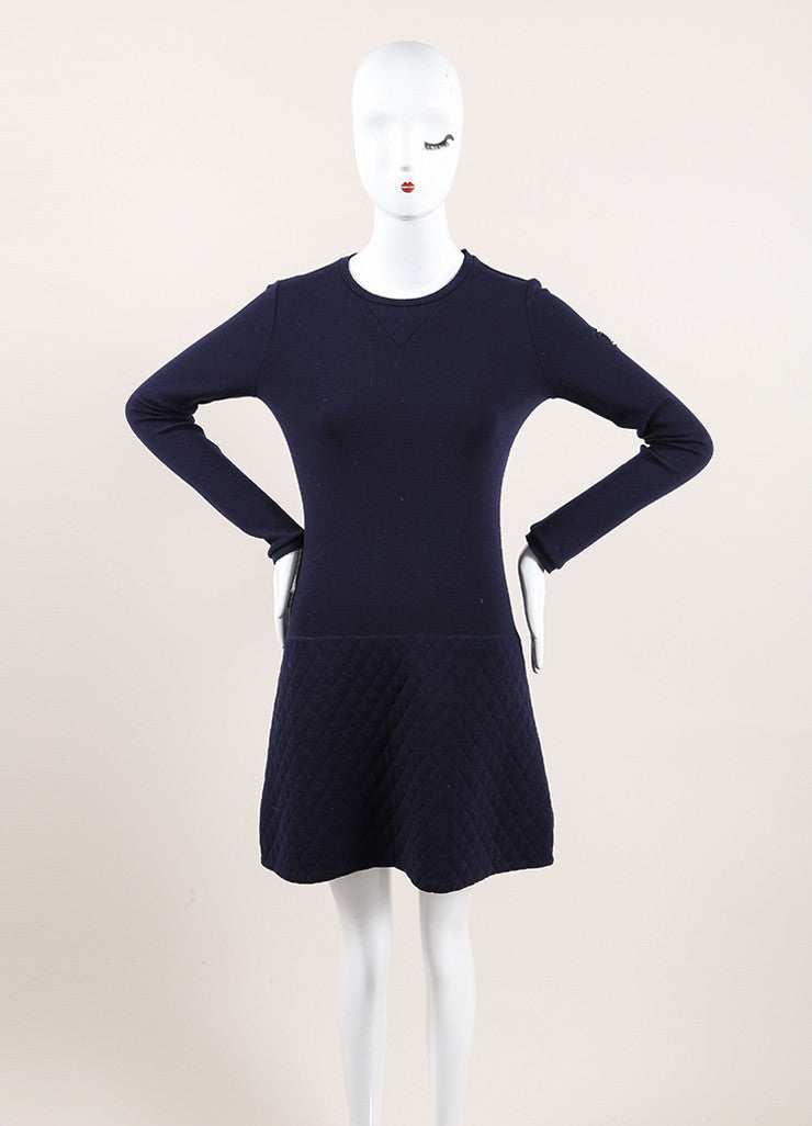 Chanel Navy Blue Wool Quilted Knit Drop Waist Long Sleeve Dress Frontview