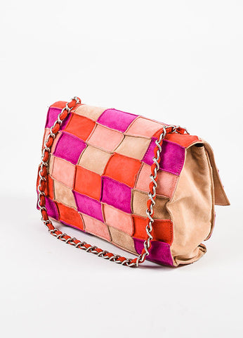 "Chanel Pink and Beige Suede Leather ""Mademoiselle Patchwork Reissue"" Flap Bag Sideview"