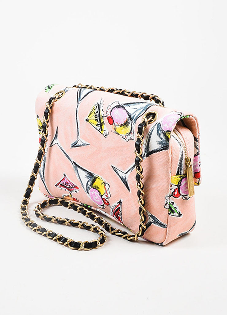 Chanel Pink Printed Canvas Ice Cream Sundaes Collection 'CC' Flap Bag Sideview