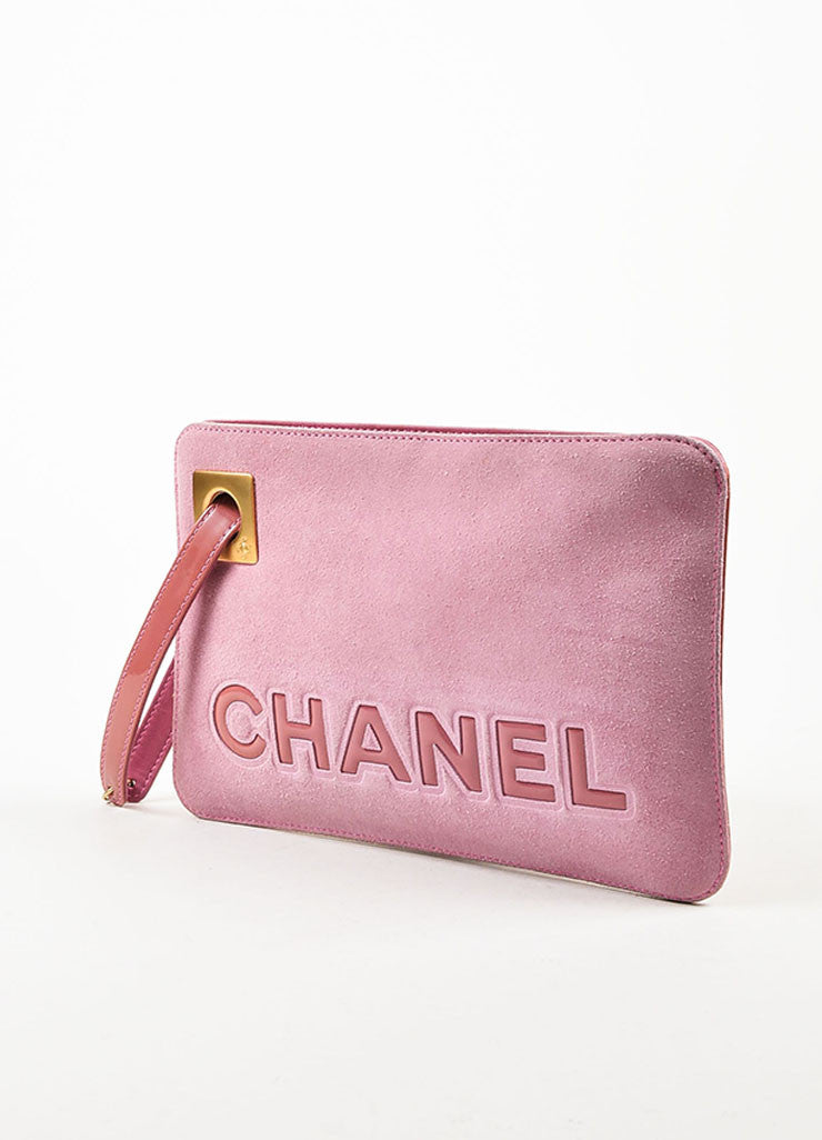 Chanel Pink Suede Patent Leather Camellia Zip Wristlet Clutch Bag Sideview