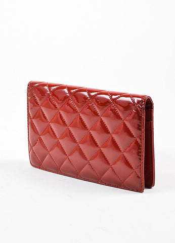 Red Chanel Patent Leather Quilted 'CC' Bifold Wallet Backview