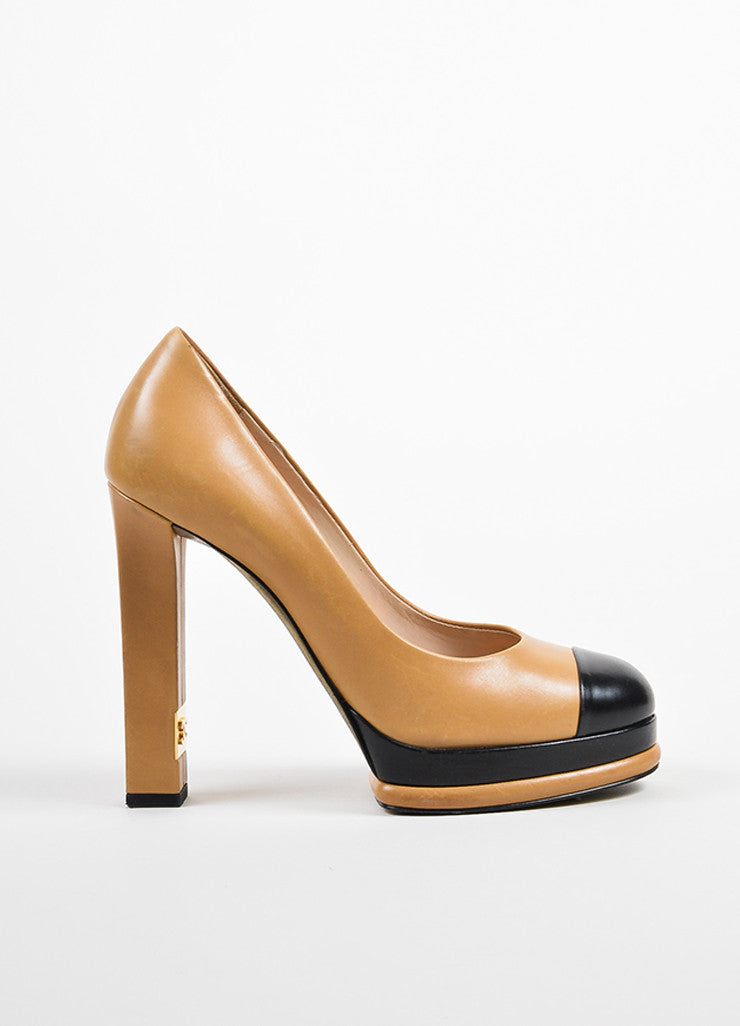 Tan and Black Chanel Leather Cap Toe Platform Pumps Sideview