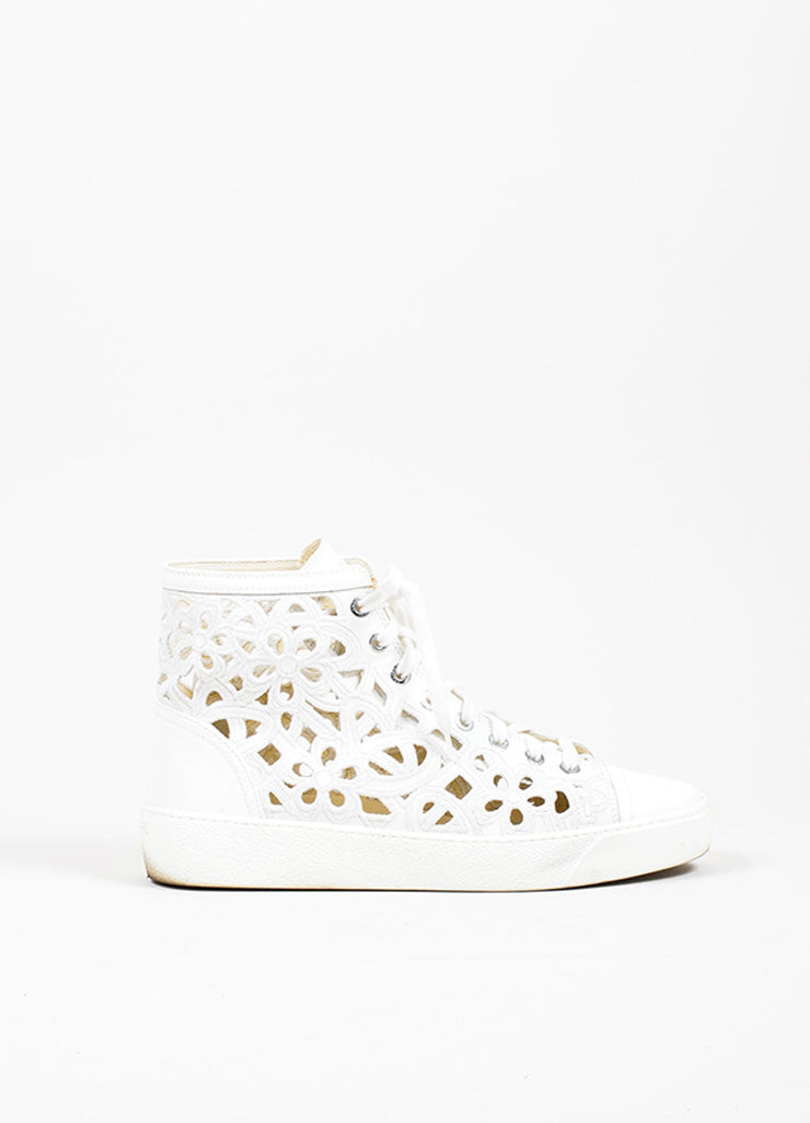 White Chanel Laser Cut Camellia Floral High Top Sneaker Profile
