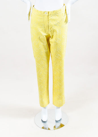Chanel Yellow Denim Perforated 'CC' Straight Leg Pants Frontview
