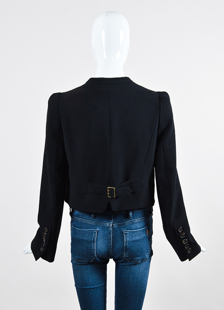 Black Chloe Collarless Scoop Neck Button Cropped Blazer Jacket Backview