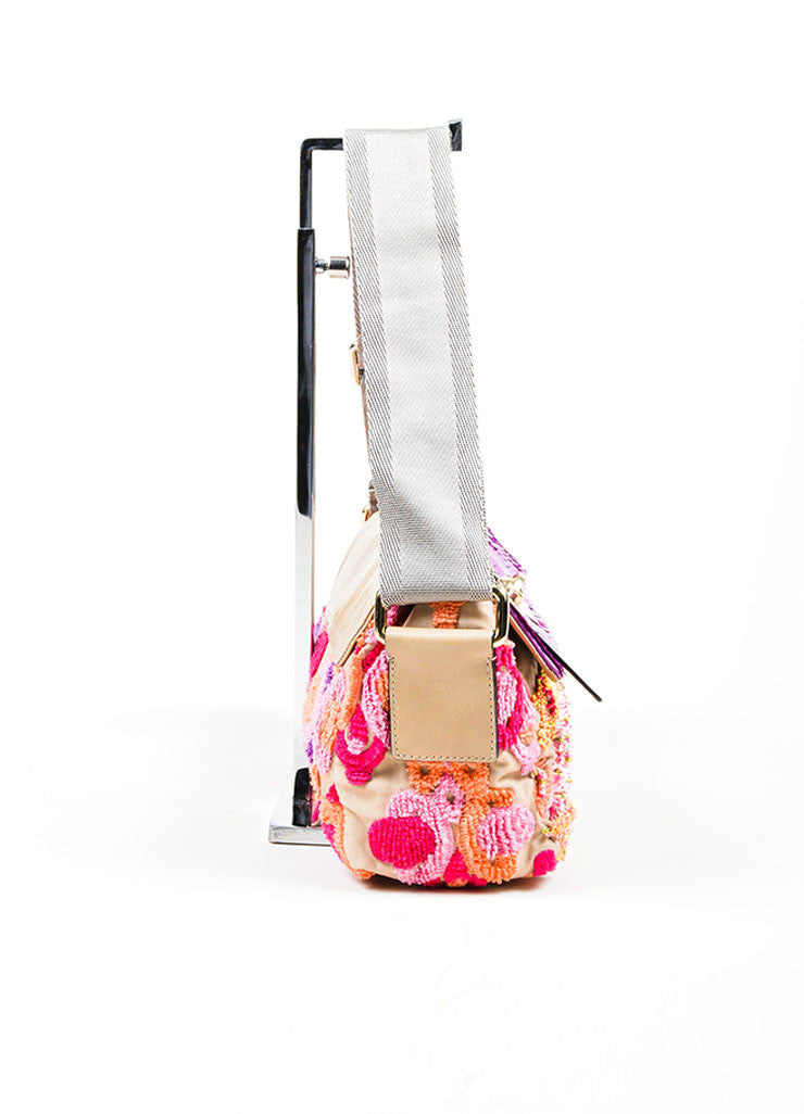 Beige and Multicolor Chloe Linen and Leather Embroidered Sequined Shoulder Bag Sideview