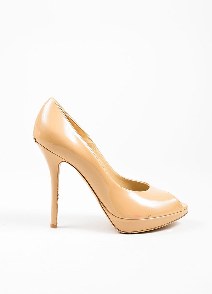 "Nude Tan Christian Dior Patent Leather Peep Toe ""Miss Dior"" Pumps Sideview"