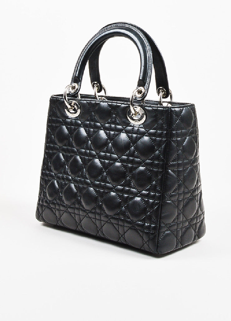 "Christian Dior Black Leather Cannage Quilted ""Lady Dior Medium"" Tote Bag Sideview"