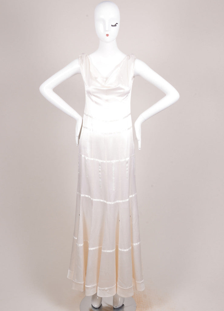 Christian Dior Cream Silk Satin Seamed Sleeveless Cowl Neck Gown Frontview
