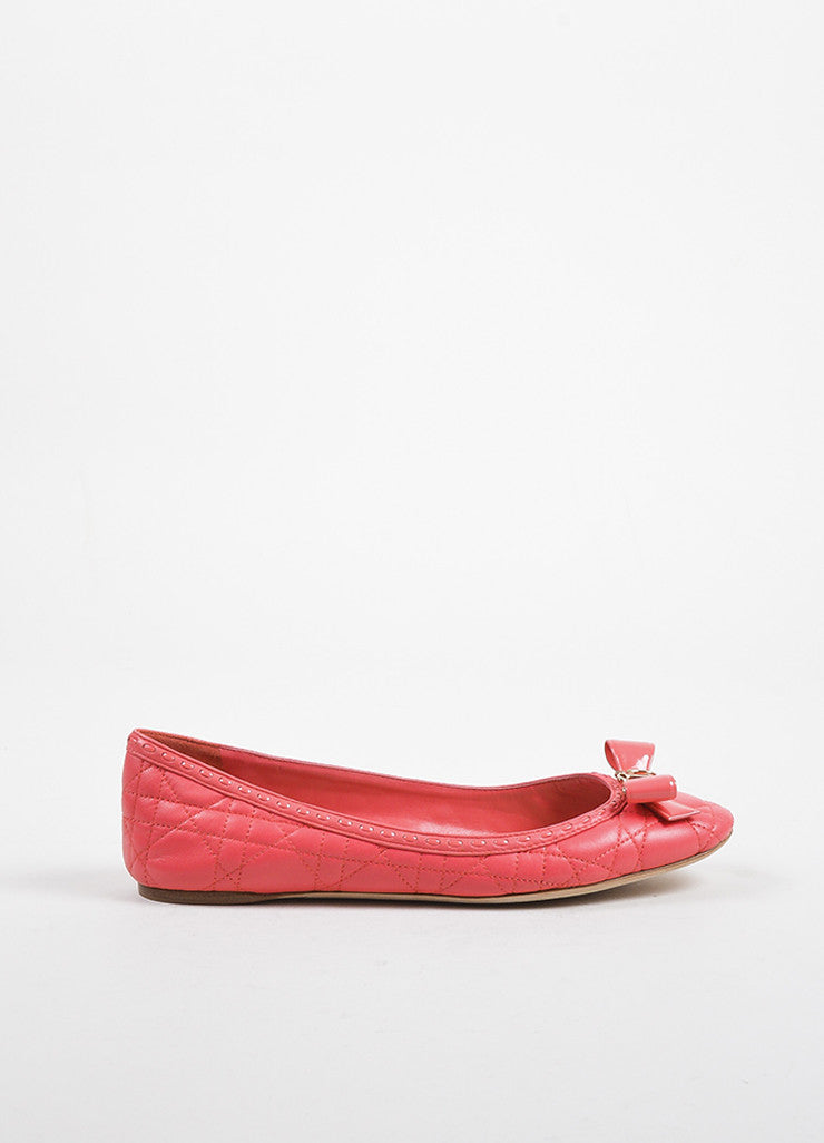 "Christian Dior Coral ""Cannage"" Leather Bow Ballerina Flats Sideview"