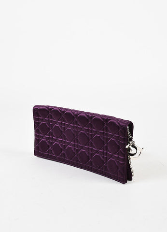 "Christian Dior Purple Satin Quilted Chain Strap ""Cannage"" Flap Clutch Bag Sideview"