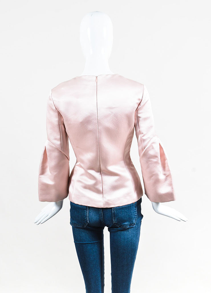 Light Pink Christian Dior Satin Silk Pleated Sleeve Blouse Back