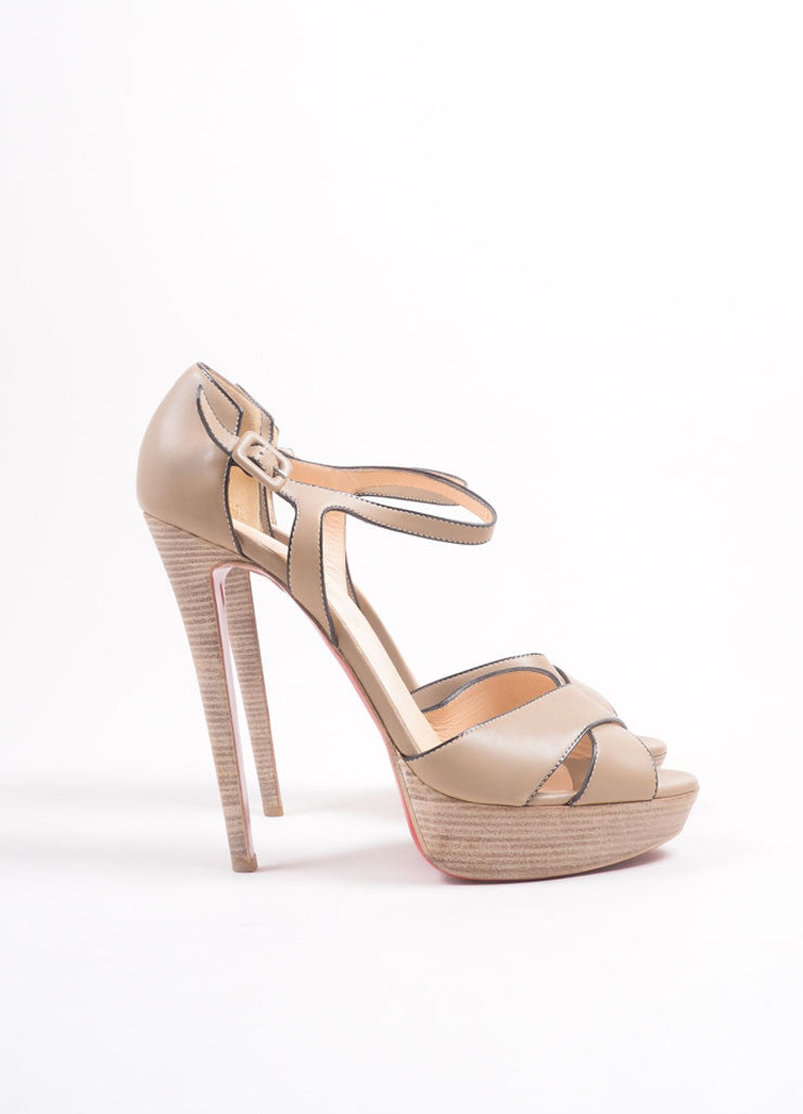 "Christian Louboutin Tan Leather Stacked Platform ""Sporting"" Sandals Sideview"